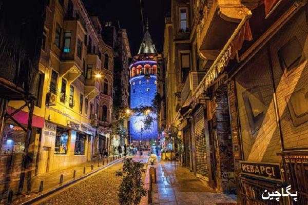 برج گالاتا از خیابان استقلال