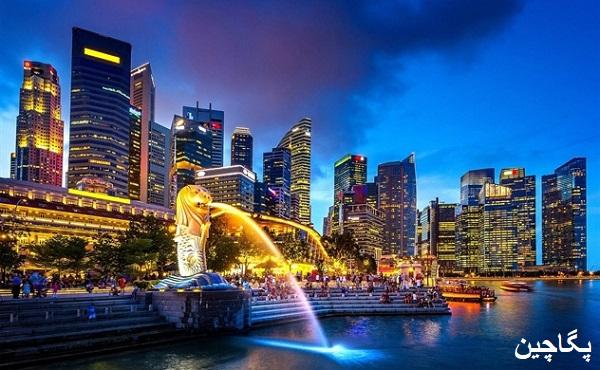 نمای خیره کننده سنگاپور در شب