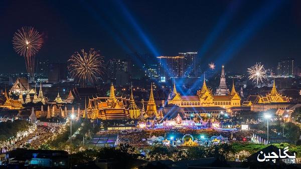 نمای خیره کننده کاخ پادشاهی بانکوک در شب