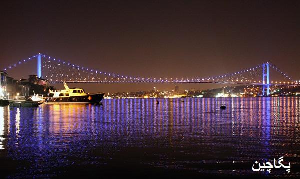 پل بسفر یا پل بسفروس در شب